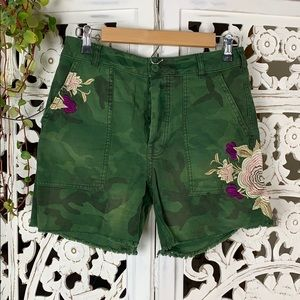 Free People embroidered cargo style army shorts